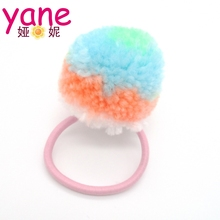 Popular hair accessories baby girls elastic hair bands ball wholesale
