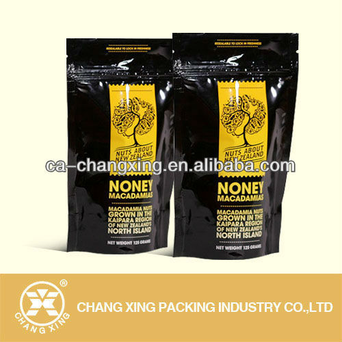 Black resealable zipper plastic bag for honey chilli macadamias packaging