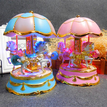 2017 wholesale toy carousel music box classical antique music box carousel horse music box