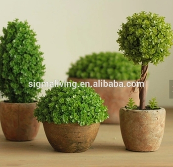 Hot sale quality clay potted indoor decoration artificial small round tree plant