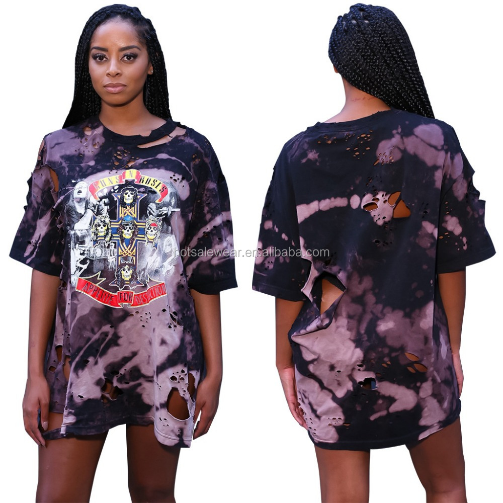 stock destroy hole full printing music festival women t shirt QM-TE3114