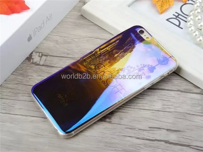 Fashion trend in US soft plastic blue ray imd color changing phone case from different angles
