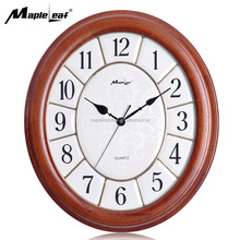 Solid Wood Oval Quartz Wall Clock