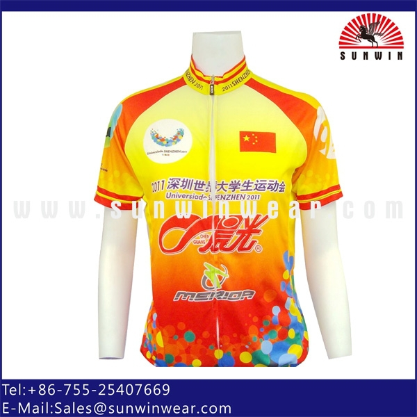 Men's 100% Polyester Custom Bicycle Shirt, Cheap Cycling Jersey