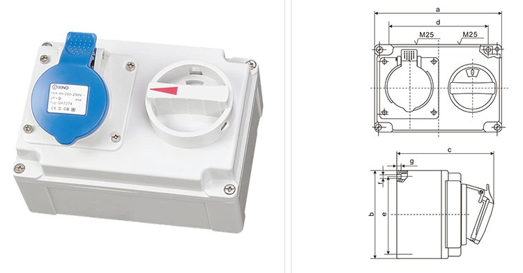 DTIS0201 CEE/IEC International Standard Mechanical Interlock wall socket