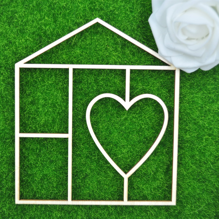 DIY Wooden Crafts Unfinished Wood House Shapes Love Heart Wooden Cutouts for Decoration