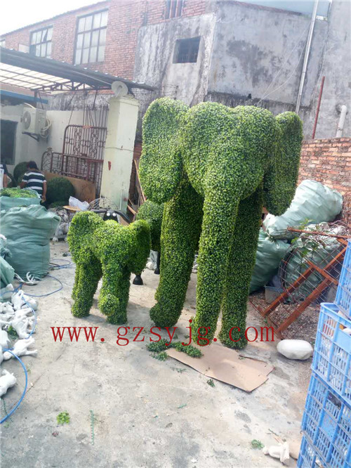 high simulation wire topiary elephant animal, fake boxwood hedge for garden decoration