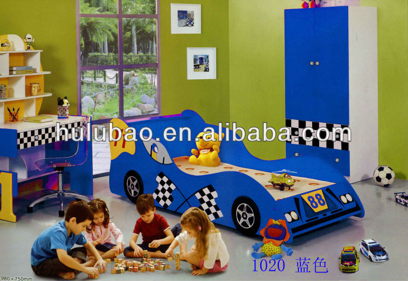 blue children furniture wooden kid car bed CB1152