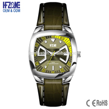 custom square shaped 5 atm water resistant stainless steel watch