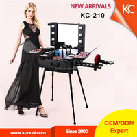 Professional Aluminum Makeup Trolley Case with Lights and Clasp Key Lock, makeup station with lighted mirror and stand