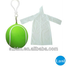 Plastic Tennis Ball With Disposable Rain Poncho Keychain