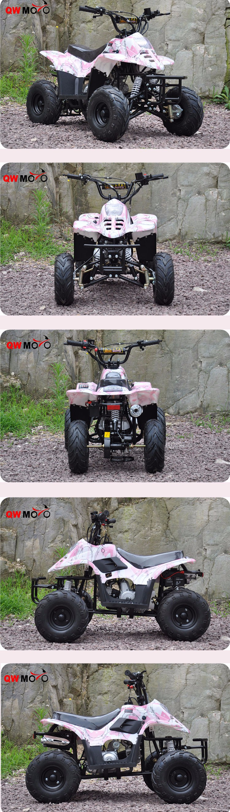 QWMOTO CE 50CC kids Quad Bike 50cc Gas Powered ATV 50cc Automatic pink Quad Bike for sale