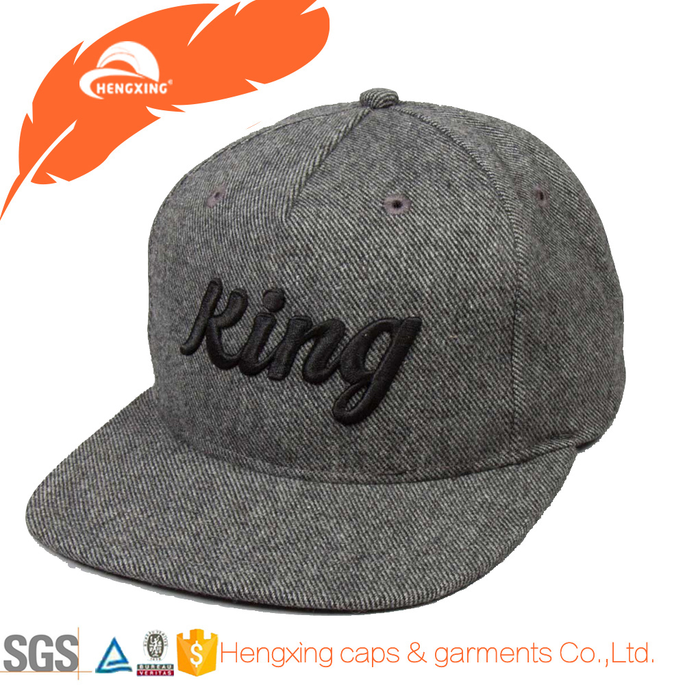 Custom embroidered snapback hats wholesale wool felt d