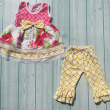 Latest design boutique clothes for girls giggle moon remake clothing set floral newborn baby clothes