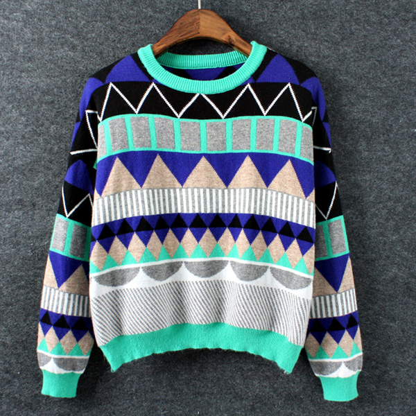 MS61467W pop art vintage crochet autumn winter plaid latest women sweater