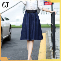 SX036#usa fancy ladies jean dress A-line high waist skirts pure color denim women long skirt