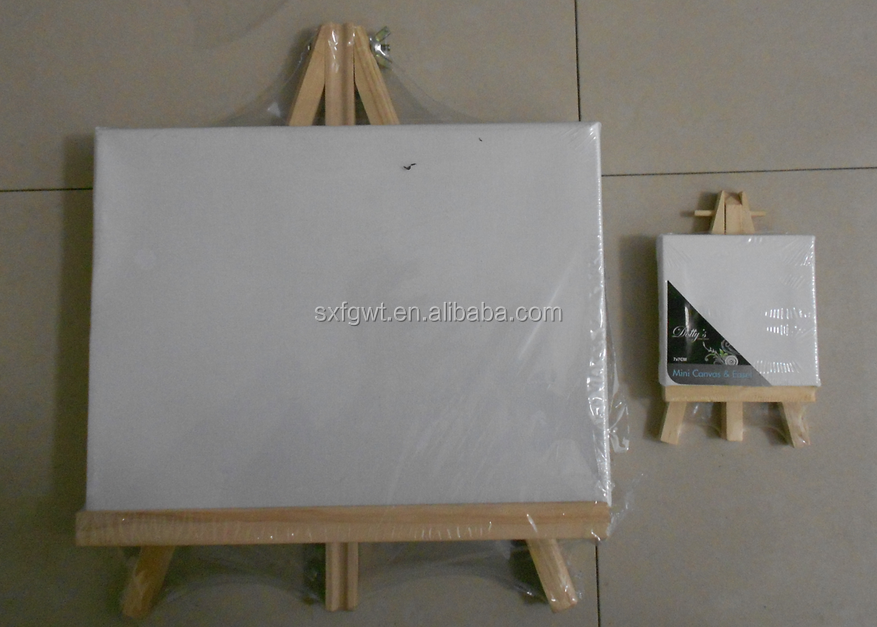 Artist wooden easel and canvas