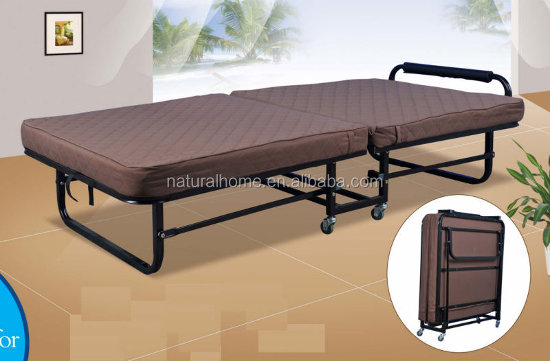 Good quality Guangdong cheap price of folding metal <strong>bed</strong> with wheels