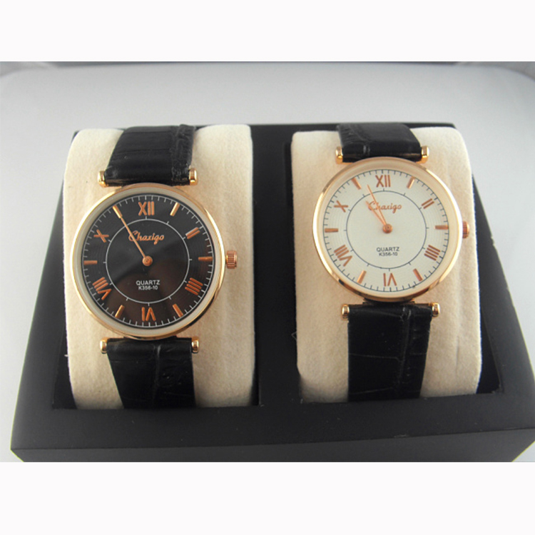 New Fashion Black White Round Ladies Men Cheap Leather Watch Women Leather Band Watch Hot Sale