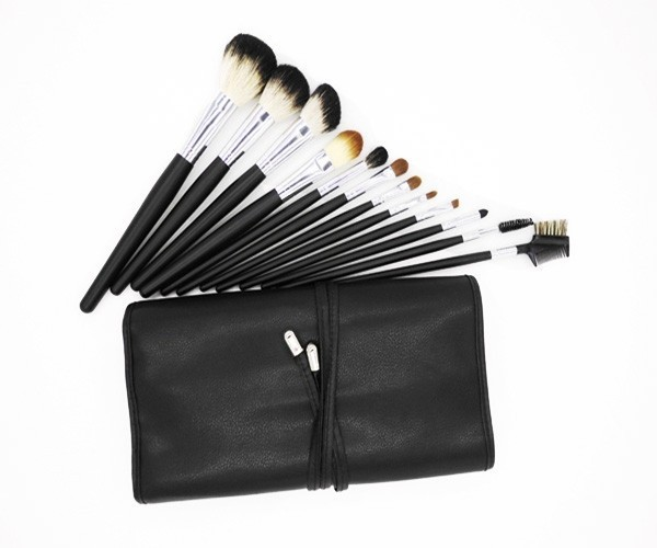 drop shipping 12 Piece Black Color goat Hair Professional Makeup Brushes Set
