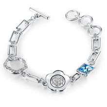 Young Ladies blue Crystal flower style white 18K GP Brass Bracelet