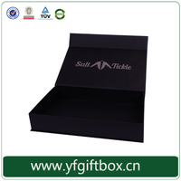 black printed cardboard gift packaging boxes with hinged lid