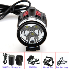 4-Mode 3200Lumen 3x CREE XM-L2 Rechargeable LED Headlamp with 18650 battery pack