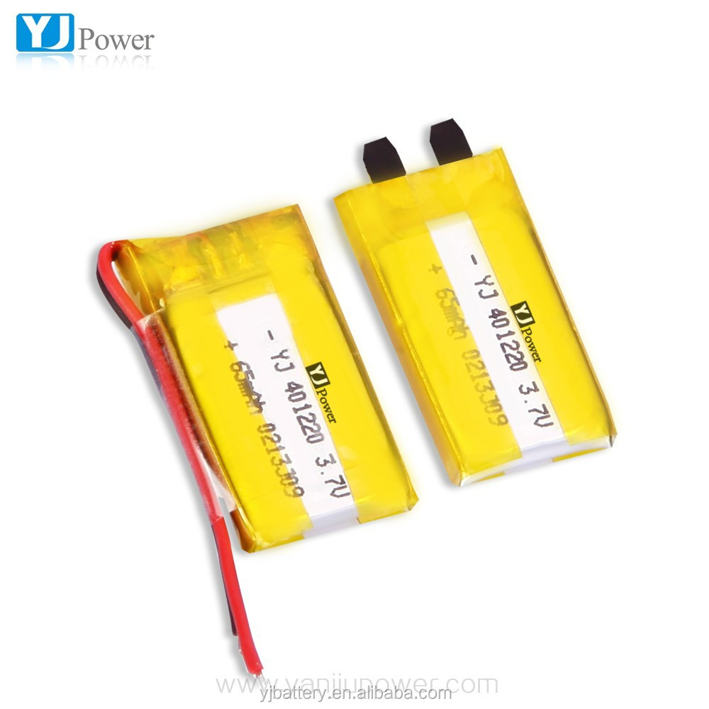 small rechargeable battery YJ401220-65mAh small lipo battery for smart watch