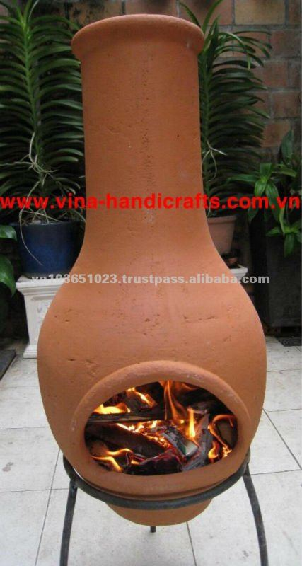 Chi-6868L Natural Red Color Iron Stand Clay Chiminea Stove