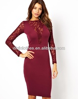 Long sleeve elegant lace woman dress