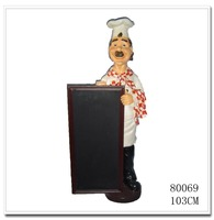 Polyresin/Resin Chef Menu Board Statue Decoration Figure,vintage menu board/interior decoration