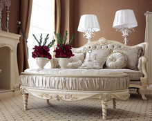YM041 antique elegent ivory wooden frame carving velvet fabric living room french sofa set sitting room italian furniture