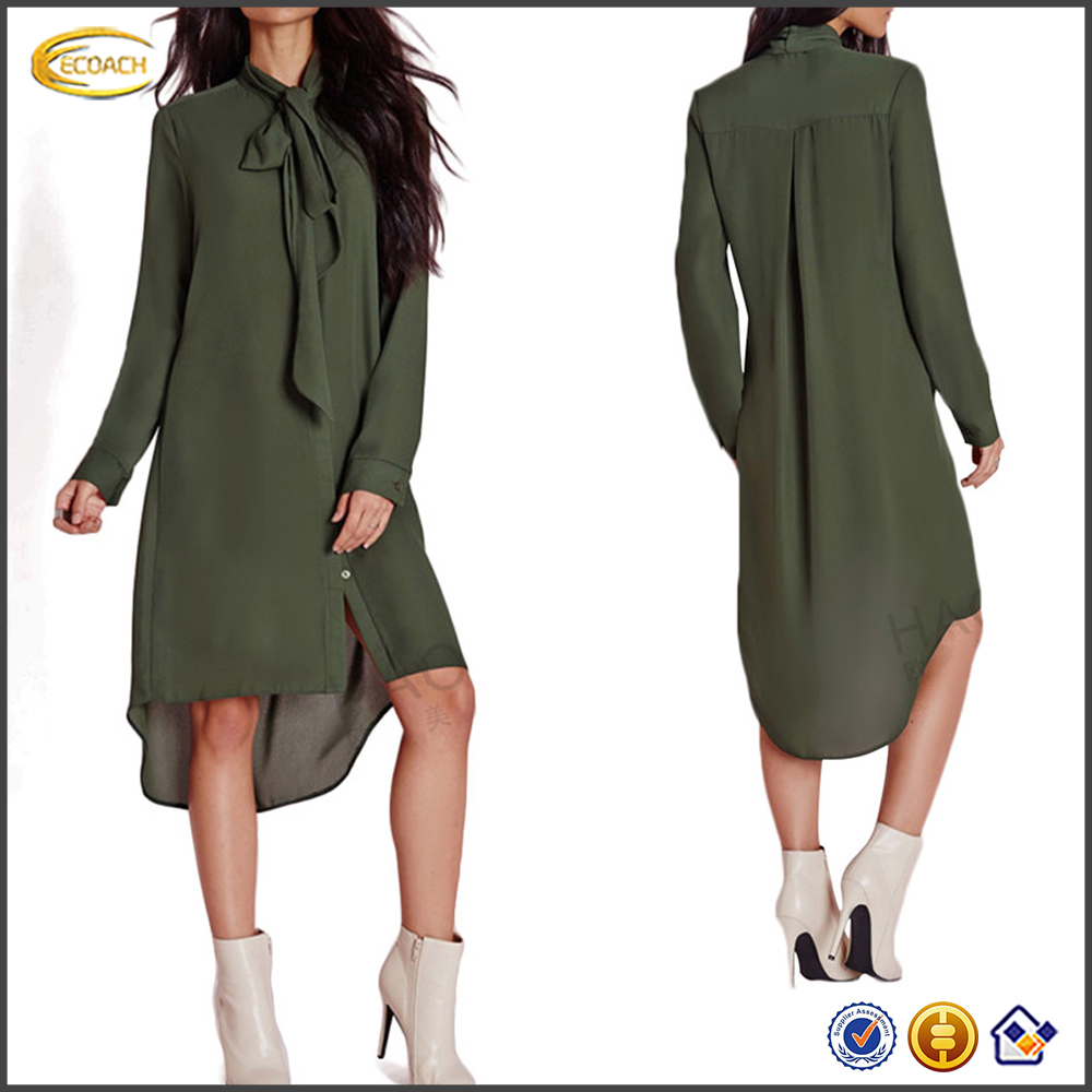Ecoach Women army green neck long shirts stand collar loose blouses casual bow tie front short and long back blouse