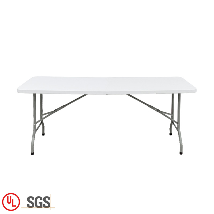 Outdoor 6 Seater Plastic Foldable 6FT Fold-In-Half Folding Dinning Table Set For Sale