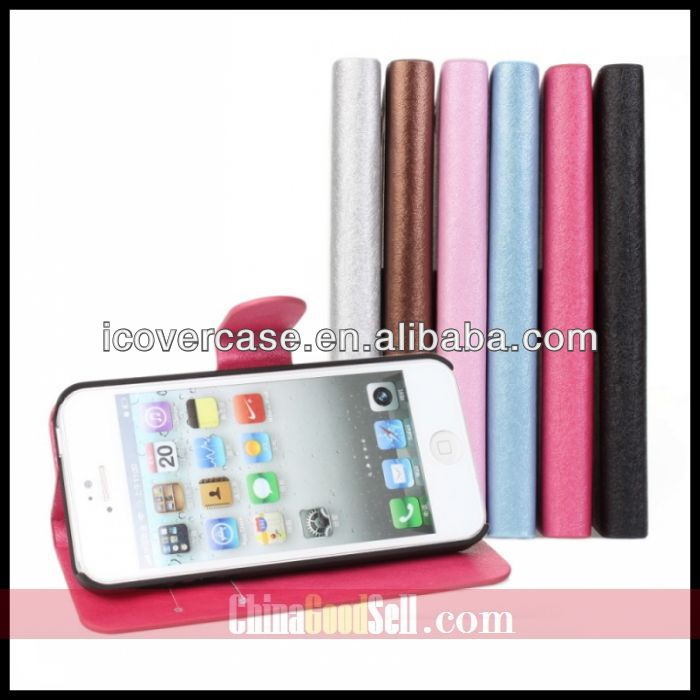 2013 Best Europe luxury silk PU leather case for iPhone 5 5s flip cover Stand Pouch with slot