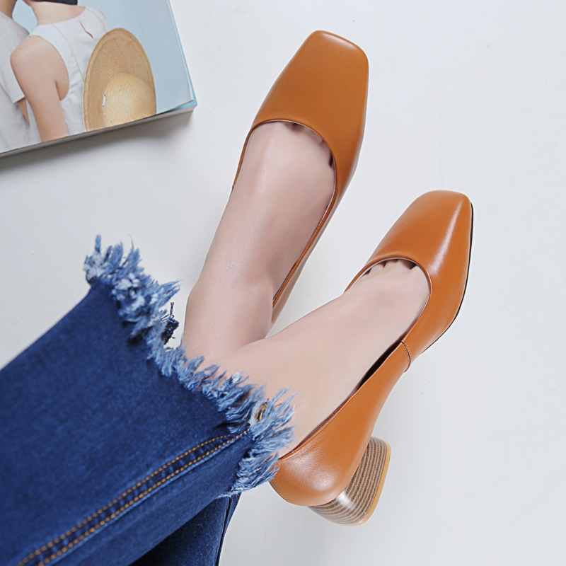 Leather Wholesale elegant square toe women chunky heel fashion dress formal ladies office shoes