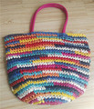Rainbow Color Paper Braid Woven Tote Bag