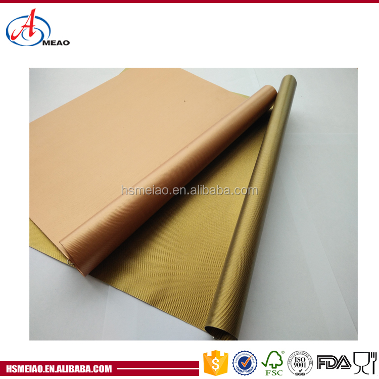 As seen on tv Heat Resistance gold/PTFE Oven Liner sheet,BBQ Copper Grill Baking Mat