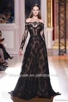 Hot Sale Sexy See Through Off the Shoulder Long Sleeve Lace Black Evening Dress 2014/Prom Gowns C0004