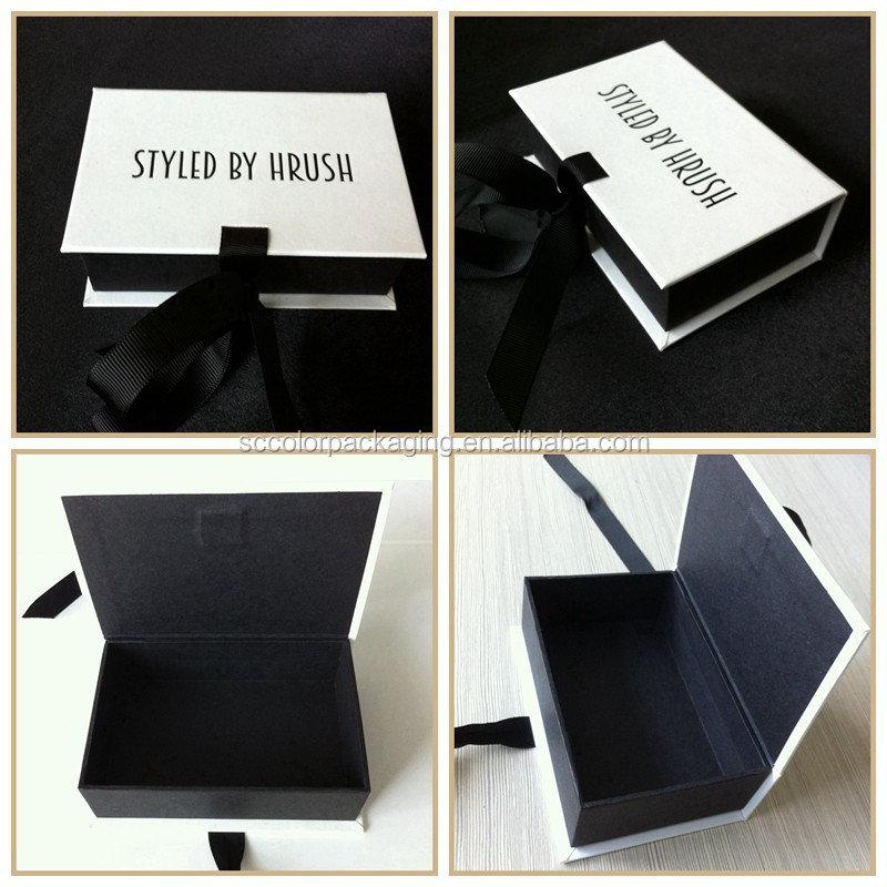 Sexy and luxry bikini gift packaging box custom foil stamped box&black inside with ribbon closure box