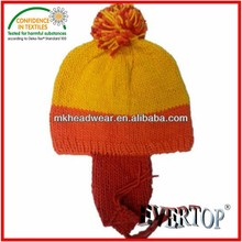 wholesale hat manufactuer hand knitted/crocheted acrylic hat with ear muffs top ball and ecofriendly oekotexquality Jayen hat