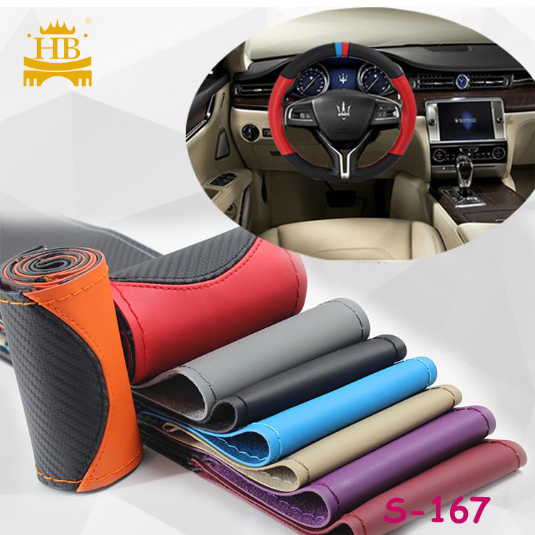 New design  colorful  thread car steering wheel cover with OEM pattern