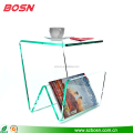 Luxury transparent portable magazine rack with coffee table top brochure holder