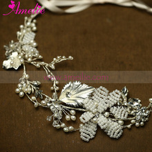 Silver Color Bridal Jewelry White Beads Side Hair Clip Wedding Mermaid Hair Accessories