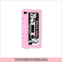 Tape-shaped Steve Jobs Protective Silicone Case for Apple for iphone 4S Pink
