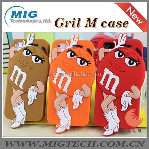 Boy and gril 3D chocolate M&M soft silicone phone case for apple iphone 5, for iphone 5S with packaging 8 colors China supplier