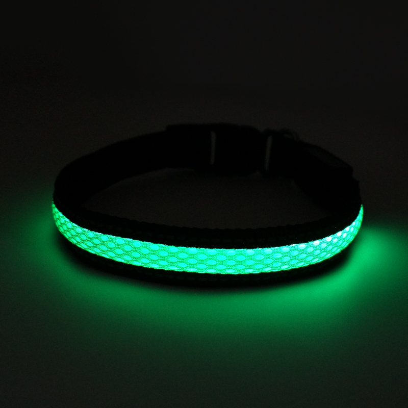 Flat Polyester Green LED Mesh Webbing USB Rechargeable LED Flashing Dog Collar