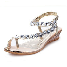 cheelon shoe girls rhinestone low wedge heel sandals beautiful back strap ladies thong sandals shoes for flat feet