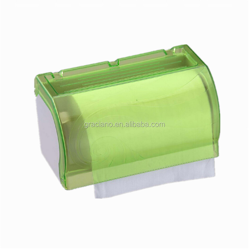 JN8701E Hotel Publicl Toilet Green Translucent Round Plastic Wall Mounted Kitchen Tissue Paper Towel Holder