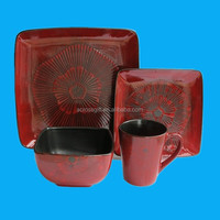 hot sale 16 pieces red color earthenware dinner set